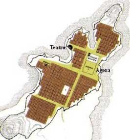 Mapa de Mileto en siglo VII antes de nuestra era